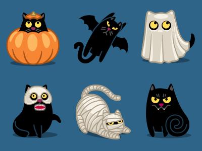 Halloween Cat cat halloween pumpkin bat batman ghost mask skull mummy vampire