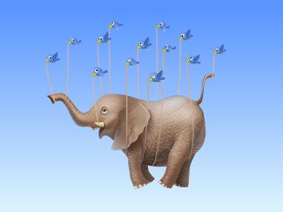 Virtual gift for MirTesen.ru elephant bird virtual gift icon iconka friendship
