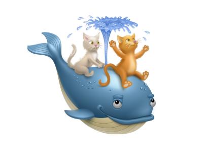 Virtual gift for MirTesen.ru mirtesen virtual gift icon iconka whale fish cat fountain friendship