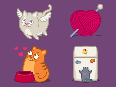 Saint Whiskers Day saint valentine cat iconka icon angel cupid fridge love ball heart food feed