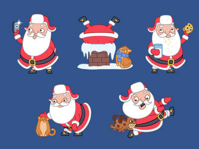 Santa's coming to town santa xmas christmas gift present holiday sticker cat pet dog selfie cookie