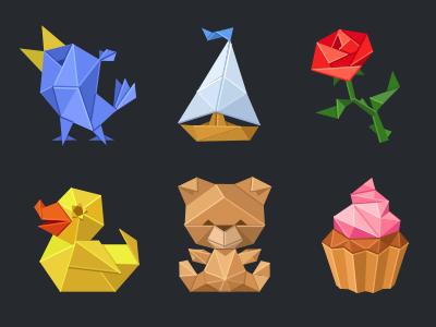 Origami set for IMO Messenger sticker bird animal teddy bear toy flower love duck cake icon