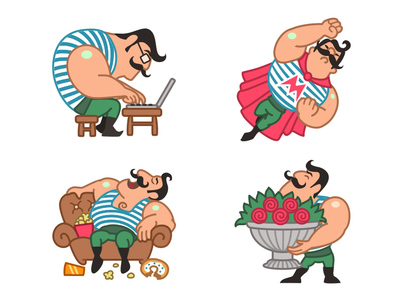 Mario The Muscle Man emotion food couch flowers love nerd superman mascot charactar strong muscle sticker