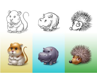 Animals for spaces.ru hamster hippo hedgehog virtual gift icon icons iconka