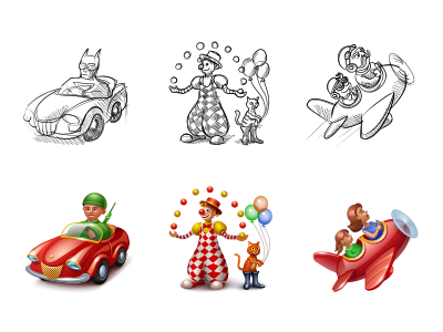Icons for Dedmoroz.ru icons gifts gift kid kids children toys iconka car soldier batman cat clown airplane flight baloons mother daughter