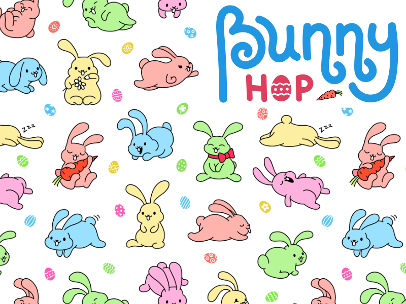 Bunny Hop Seamless Pattern By Denis Sazhin