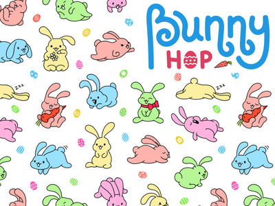 Bunny Hop Seamless Pattern seamless ornament pattern pet animal cute holiday season egg rabbit easter bunny