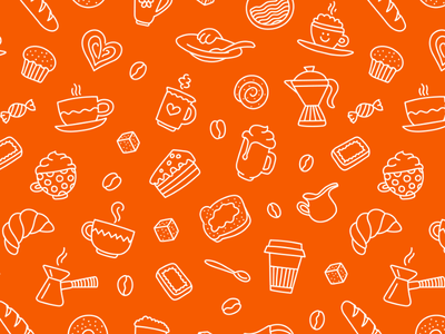 A Very Good Coffee Morning To You morning breakfast cake handdrawn seamless texture food pattern coffee