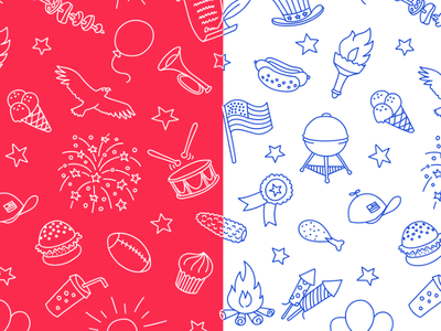 4th Of July Pattern torch food hand icon pattern celebration eagle united states america independence holiday