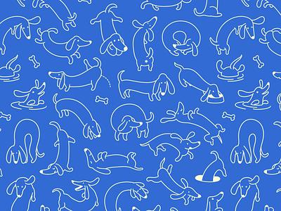 Dachshunds Pattern character pet animal tile seamless texture pattern dachshund breed dog