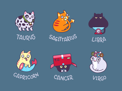 Zodiac Cat Part II cat zodiac astrology pet animal icon sign illustration taurus virgo libra capricorn
