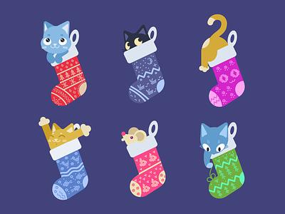 Catsmas Stockings present gift sock illustration animal pet feline xmas christmas holiday cat