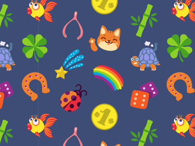 Feeling Lucky Seamless Pattern pattern lucky pet money rainbow star cat shamrock clover icon luck