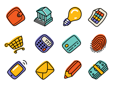Business And Finance Fun Icons banking document message cart cash money hand drawn icon finance business