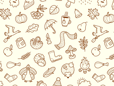 Fall Pattern outline illustration halloween thanksgiving rain icon seamless tile pattern autumn fall