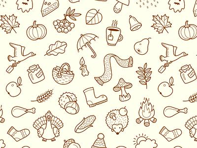 Fall Pattern outline illustration halloween thanksgiving rain icon seamless tile pattern autumn fall