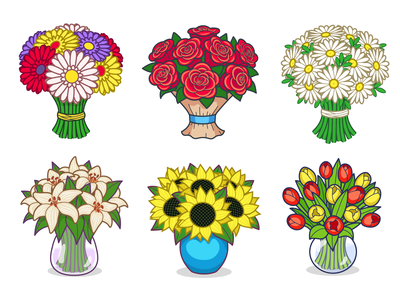 A set of flower bouquets for virtual gifts