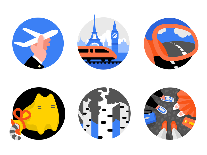 Awards for OneTwoTrip Travel Service transport flat badge icons sticker award icon trip travel
