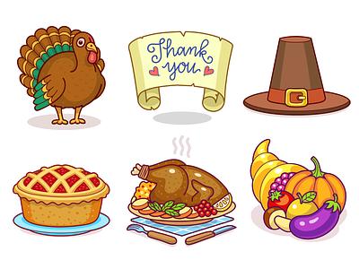 Thanksgiving Stickers stich dinner food turkey thanksgiving virtual gift icon sticker