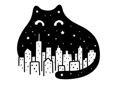 Midnight Cat logo character cat drawing illustration doodle skyline urban manhattan new york cat