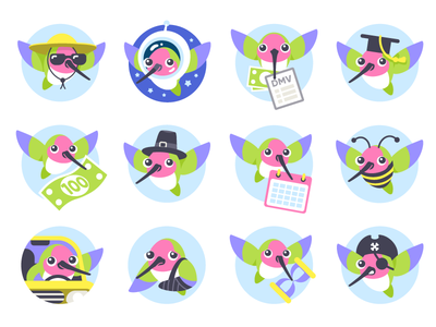 Hugo Insurance Character & Badges character badge animal bird illustration icon character design badge design