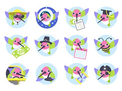 Hugo Insurance Character & Badges character badge animal bird illustration icon character design badge design
