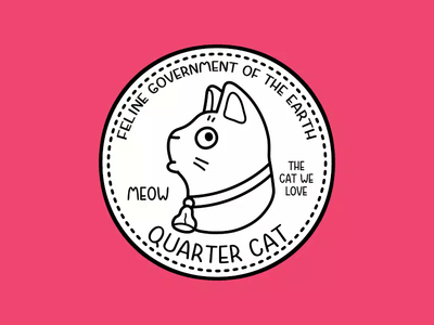 Cat Quarter cartoon pet animal character gif video animation quarter coin money cat