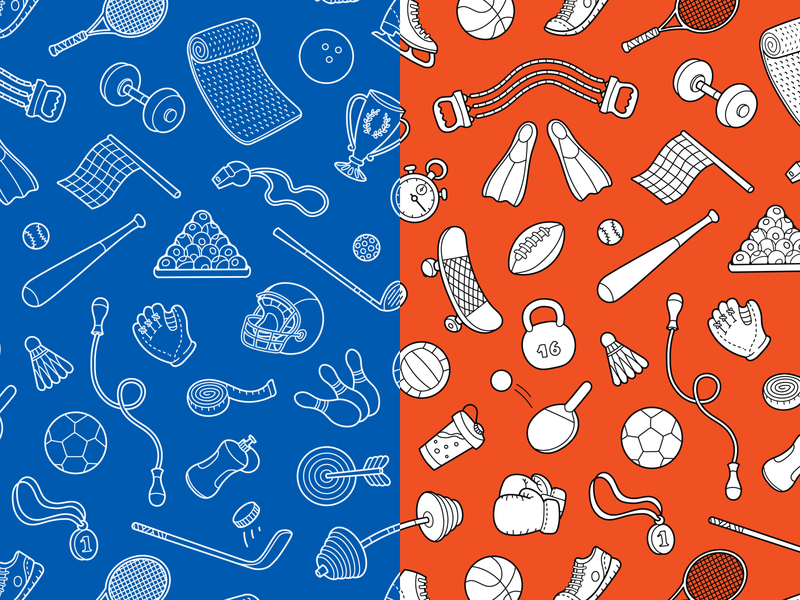 Sport& Fitness Seamless Pattern gym outline illustration icon background pattern health fitness sport