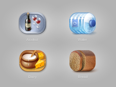 Icons for Euro-nn online store products bread alcohol water dairy milk cheese cream glass bottle icon iconka