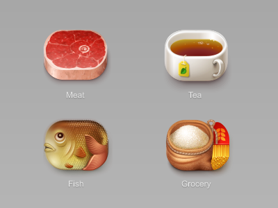Icons for Euro-nn online store 2 food drink meat fish tea cup cereal sugar powder meal pasta spaghetti grocery icon iconka store