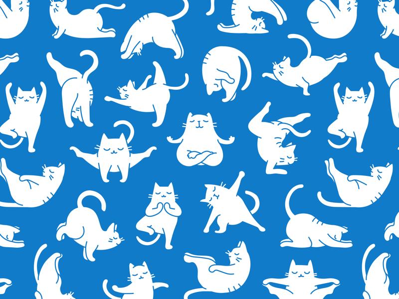 Yoga Cat Pattern pet illustrator exercise chakra asana namaste meditation zen gym fitness sport yoga design feline cat background pattern character illustration