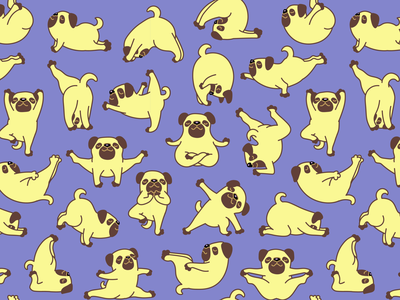 Pug Yoga Pattern sticker illustration exercise pattern fitness sport yoga pug pet animal character dog