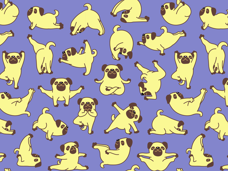 Pug Yoga Pattern sticker illustration exercise pattern fitness sport yoga pug pet animal character dog