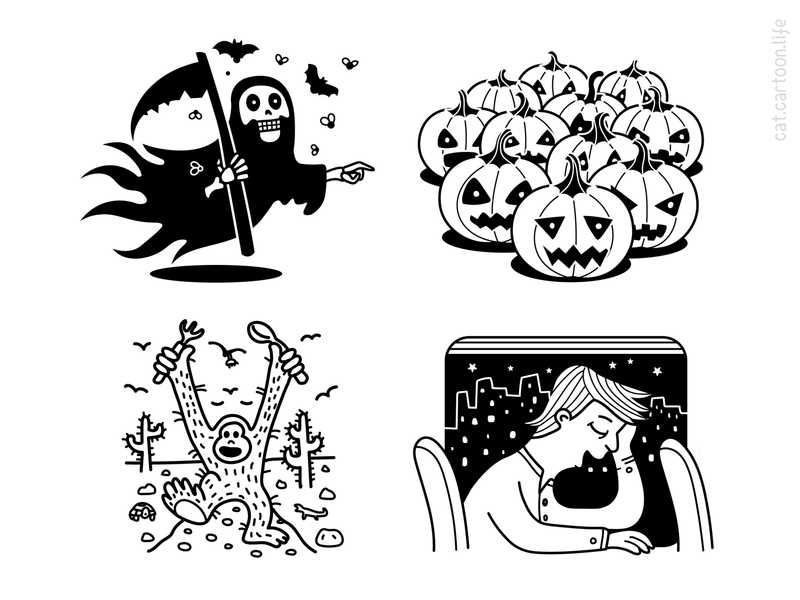 Find A Cat character grim reaper death blackandwhite outline pumpkin halloween illustration cat riddle puzzle qiuz contest