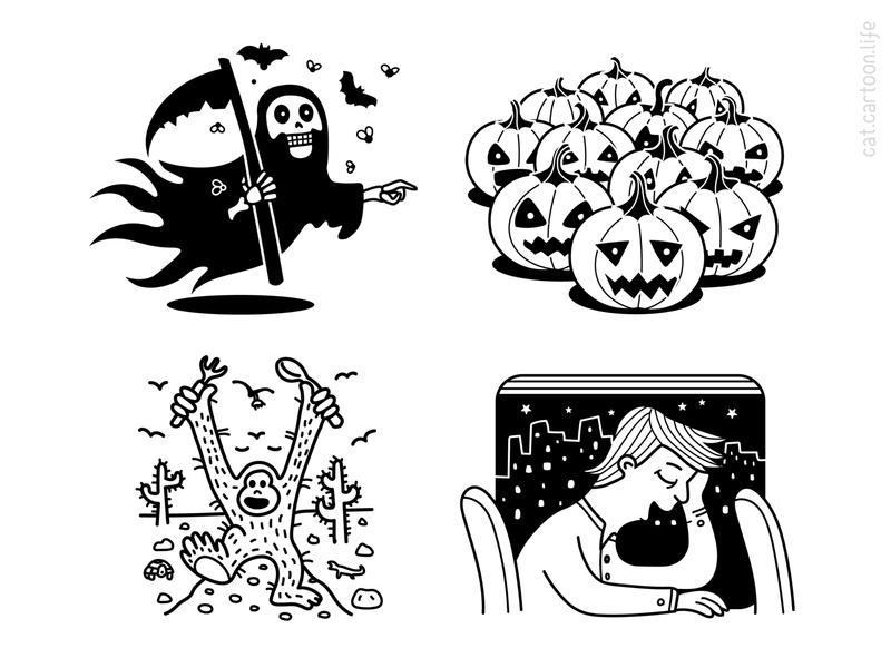 Find A Cat character grim reaper death blackandwhite outline pumpkin halloween illustration cat riddle puzzle qiuz contest