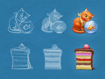 Some icons for Spaces.ru cat cake fish process sketch drawing piece dinner eat goldfish icon iconka