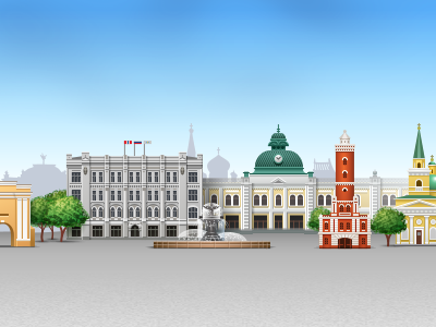 An illustration for Omsk website header omsk official site icon iconka administration buildings places of interest