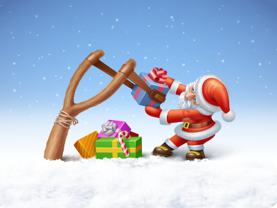 The weapon is loaded I slingshot xmas christmas gifts santa weapon shoot snow candy icon iconka