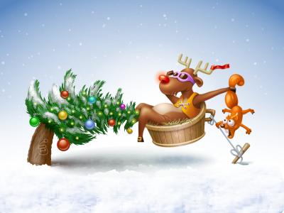Xmas Deer Shooting xmas tree christmas lights balls ball light deer glasses squirrel shoot snow icon iconka winter
