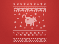 Ugly Cat Sweater Pattern apparel holiday season winter pattern knitted illustration christmas cat