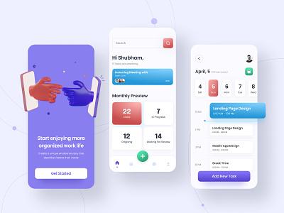 Task Manager Mobile App   UI Design Concept V2.0 3d illustration app android app ios app user experience user interface ux design design management task manager task manager app app design uidesign ui