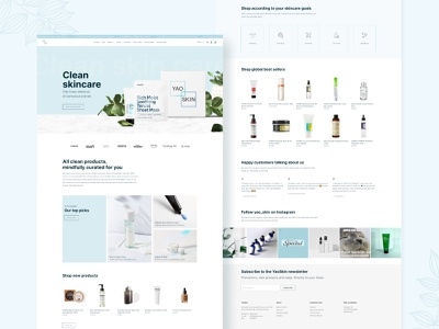 YaoSkin Website Redesign website design skin care pastel color pastel skincare branding web design web ui