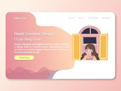 Landing Page ui webdesign branding uiuxdesign illustration design portfolio uiux landing page design uidesign