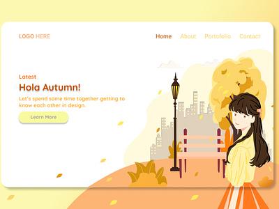 Landing Page web uiux autumn webdesign portfolio branding uiuxdesign landing page design illustration uidesign design