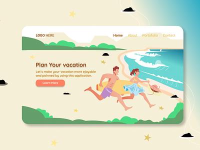 Landing Page Plan Your Vacation beach running vacation typography webdesign uiuxdesign uiux uidesign portfolio landing page design illustration design branding