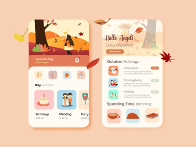 Planner Activity autumn vacation planner app application application design app design uiux uiuxdesign uidesign portfolio illustration design branding
