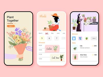 Plants Together plants app application ui ui app design uiux application design uiuxdesign uidesign portfolio illustration design branding