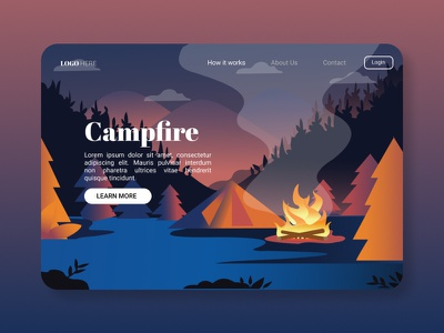 Campfire designs campfire application design webdesign app design landing page design uiux uiuxdesign uidesign portfolio illustration design branding