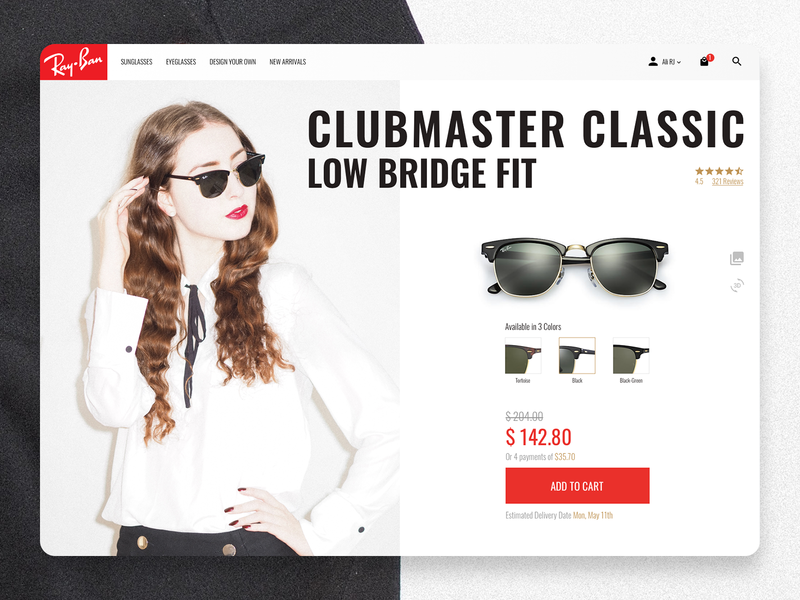 Single Item E-Commerce - Daily UI 012 shop addtocart white red sunglasses rayban daily ui 012 uichallenge daily ui dailyui