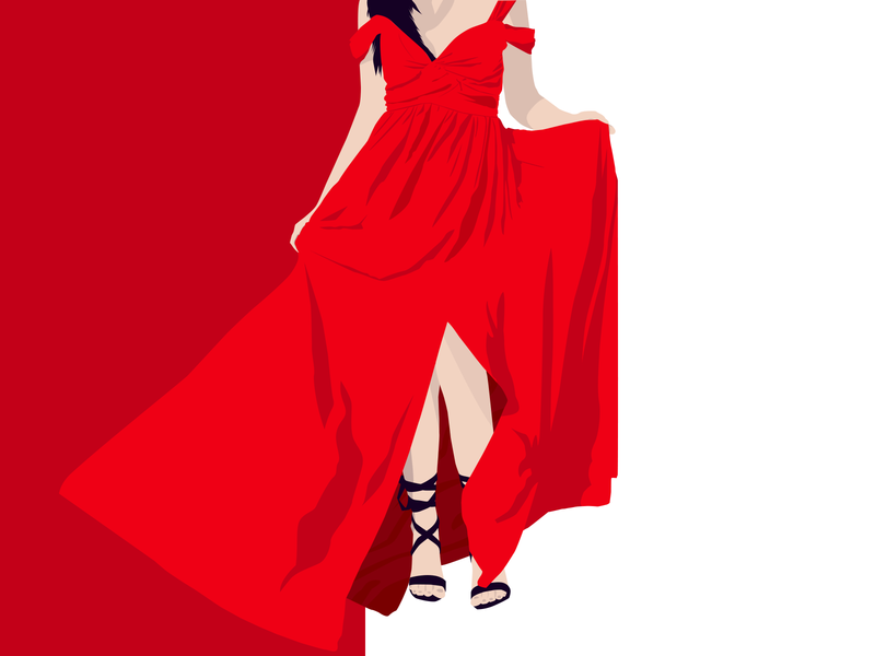 Lady in Red vector illustration vector art vector summer girl illustration illustration art illustration illustrator girl clothes red lady